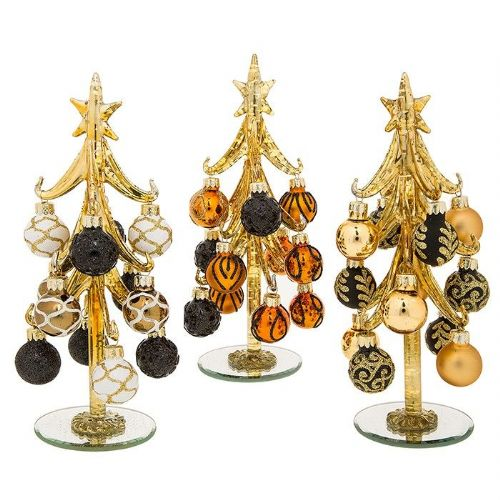 Medium Gold Glass Christmas Trees with Gold and Black Baubles